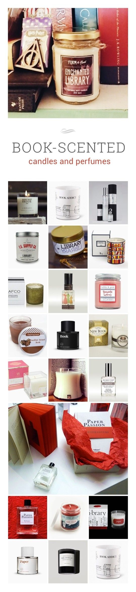 You'll be surprised how many book-scented candles and perfumes are available #infographic