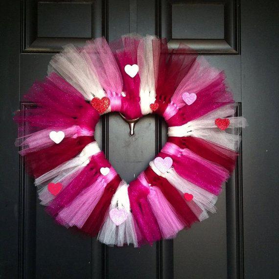 Valentine Tulle Wreath by GiftsBySunshine on Etsy, $28.00