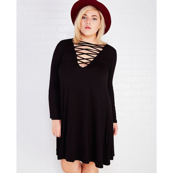 Select Clothing  Crisscross Shift Dress With Plunging Neckline (325 ARS) ❤ liked on Polyvore featuring plus size women's fashion, plus size clothing, plus size dresses, black, plus size, black shift dress, black lace up dress, black dress, plus size knit dresses and black cocktail dresses