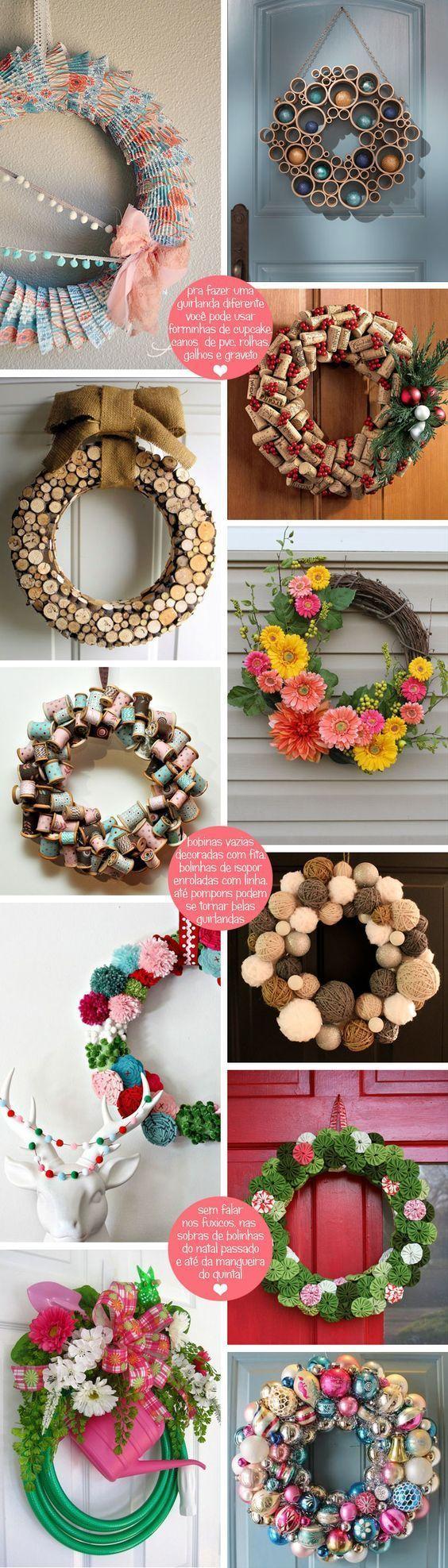 Natal chegando, que tal fazer sua própria guirlanda? Aqui estão algumas ideias para você reproduzir em sua casa. ;)     #decoração #design #madeiramadeira