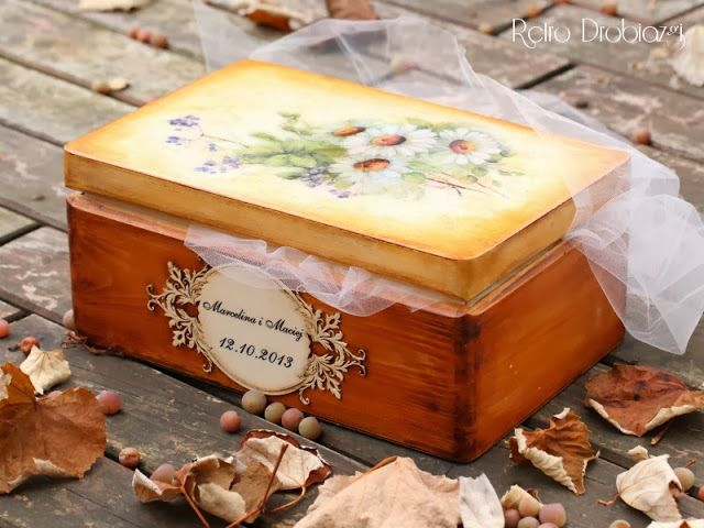 Kuferek ślubny decoupage, wedding box