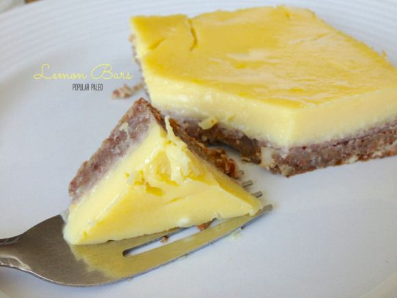 Paleo Lemon Bars CRUST 1 cup almonds 1 cup pecans 1/4 cup medjool dates (about 6 of the regular size) 1/4 cup coconut oil 1/2 tsp pure vanilla extract 1/2 tsp Celtic sea salt 1 egg  FILLING the juice from 4 lemons (approx. 3/4 cup) 1 tsp lemon zest 8 eggs 1/2 tsp pure vanilla extract 1/2 cup raw honey 1 TBSP arrowroot flour + 1/2 TBSP of hot water