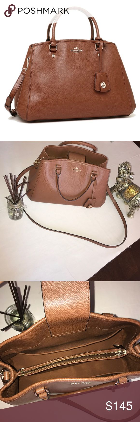 AUTHENTIC Coach Margot Carryall Satchel Bag •brand-new condition  •crossgrain brown leather •middle compartment zipper •cellphone pocket  •multifunction pocket  •magnetic closure  •PRICE NEGOTIABLE •can be used as a crossbody bag  •only used 2/3 times Coach Bags