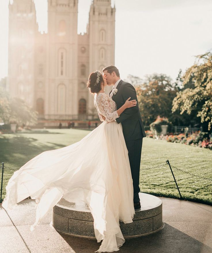 Modest wedding dress with three quarter sleeves from alta moda. -- (modest bridal gown) . photo by alice cannon