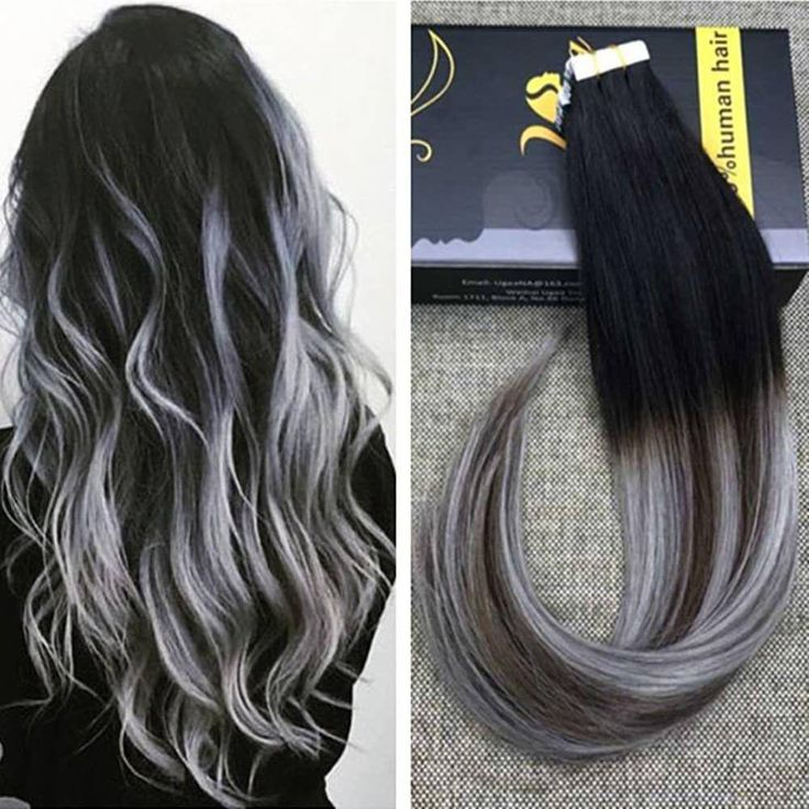 Balayage Tape Hair Extensions Black With Brown And Silver