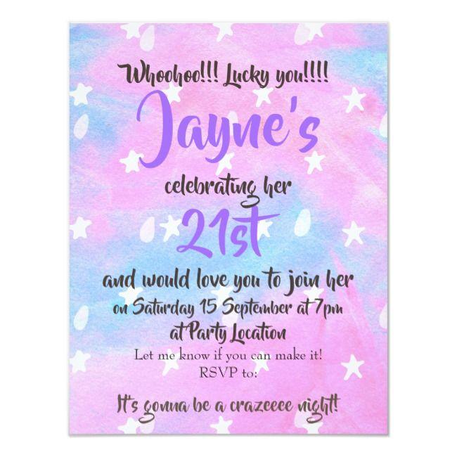 Elegant Blue Lilac Abstract Stars 21st Birthday Invitation Zazzle Com 21st Birthday Invitations Birthday Invitations 21st Birthday