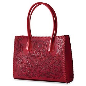 red tooled purse