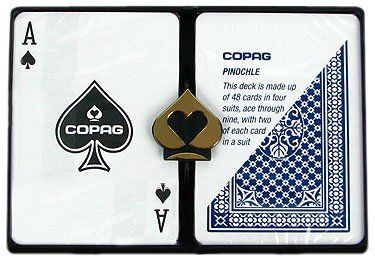 """Copag Poker Size Regular Index - Pinochle Setup Playing Cards (Multi) by Copag. $19.99. This set of 100% Plastic Poker Size (2.50"""" x 3.5"""") Regular Index COPAG Pinochle cards includes one Red deck pinochle cards, one Blue deck of pinochle cards, and a protective plastic case. Each deck contains 48 cards ranging from 9 to ace. There are 2 sets of each suit in each deck."""