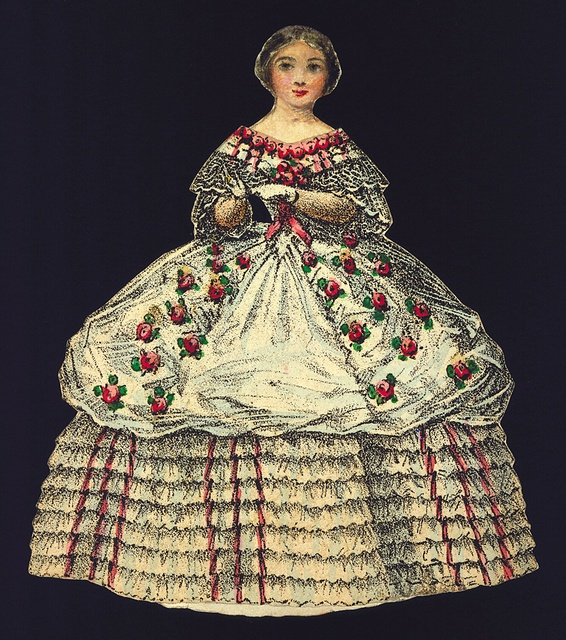 Tombstone:  	Paper Doll Costume, 1937-22-18, 1876–80.  		1876–80. 	Lithograph and brush and applied watercolors. Smithsonian, Cooper-Hewitt, Nationational Design Museum