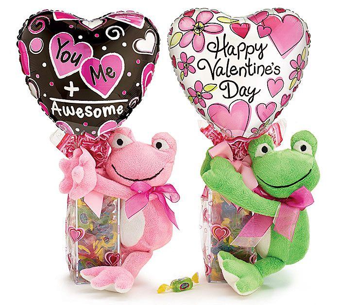 #burtonandburton Plush frog valentine gift assortment with candy, ribbon curls…