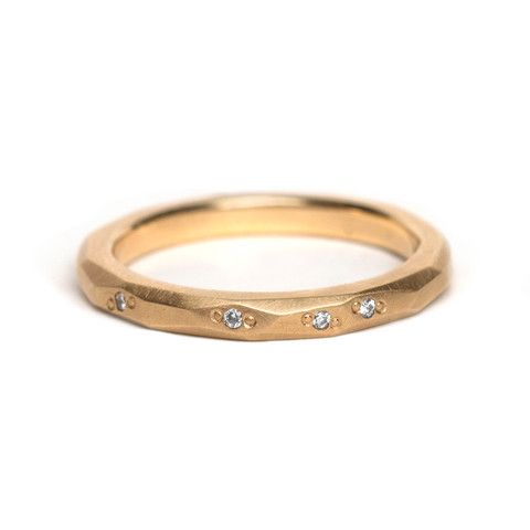 Faceted Diamond Wedding Ring