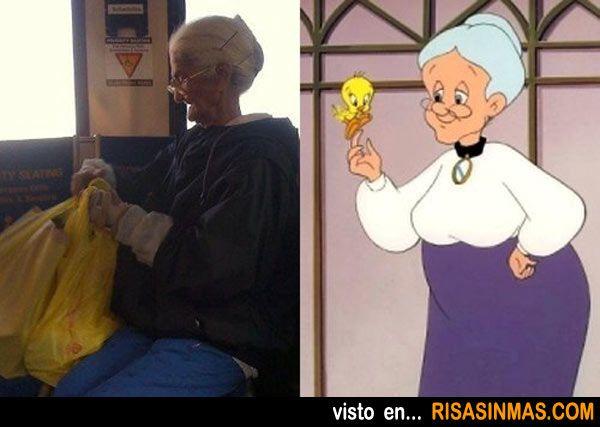 Parecidos razonables: La Abuelita de Piolín.