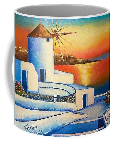 Santorini art cup coffee tea art mug Mediterranean mug
