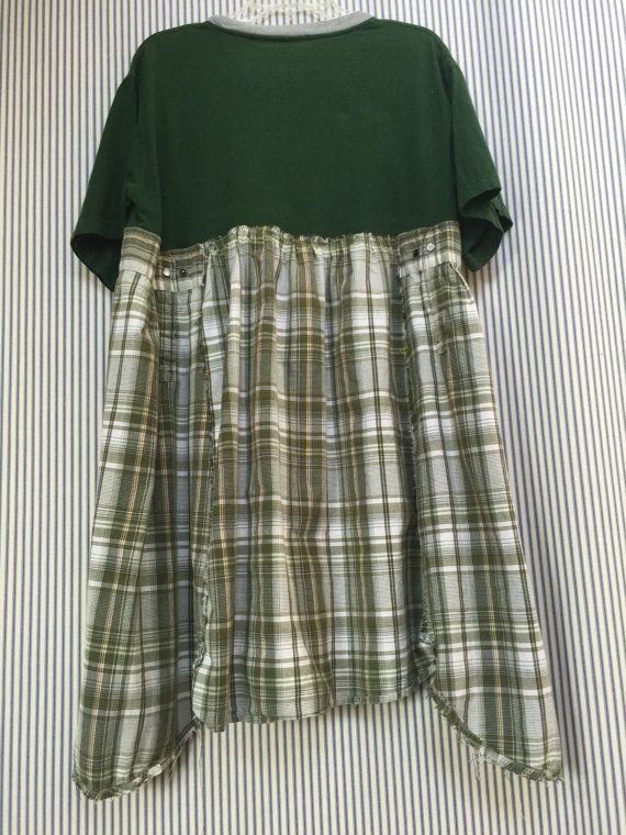 Upcycled Green T Shirt Dress Tunic-MSU Game Day Dress Green