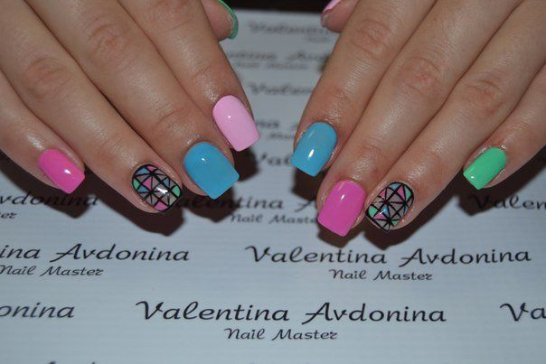 Beach nails, Bright summer nails, Club nails, Everyday nails, June nails, Manicure by summer dress, Multi-color nails, Party nails