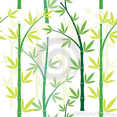 Bamboo seamless pattern with tree and leaf