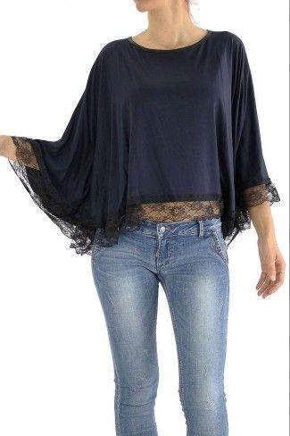 Μπλούζα Single με δαντέλα - Μπλε