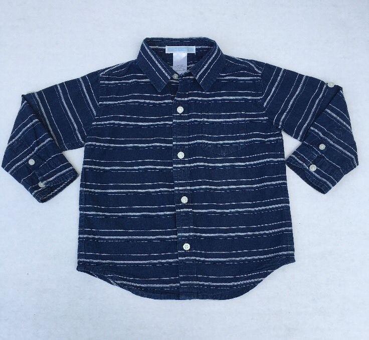 Janie and Jack Boy's Blue Striped Button Up Long Sleeve Shirt Size 18-24 M #JanieandJack #DressyEverydayHoliday