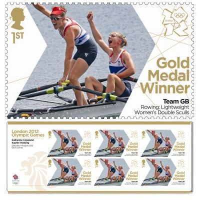 Gold Medal Winner stamp - Katherine Copeland & Sophie Hosking, Rowing, Women's Lightweight Double Sculls