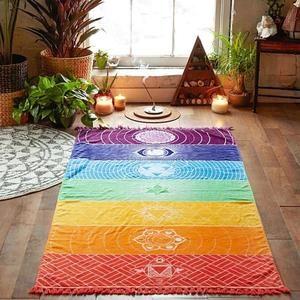 Chakra Rainbow Beach Blanket Yoga Mat Tapestry                      – themindfulguru