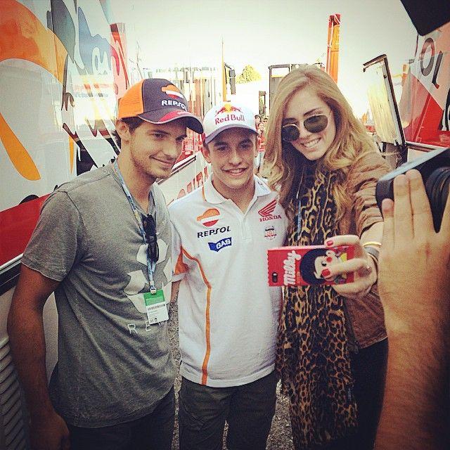 #chiaraferragni aka #theblondesalad with #riccardopozzoli and motogp champion #marcmarquez in Misano