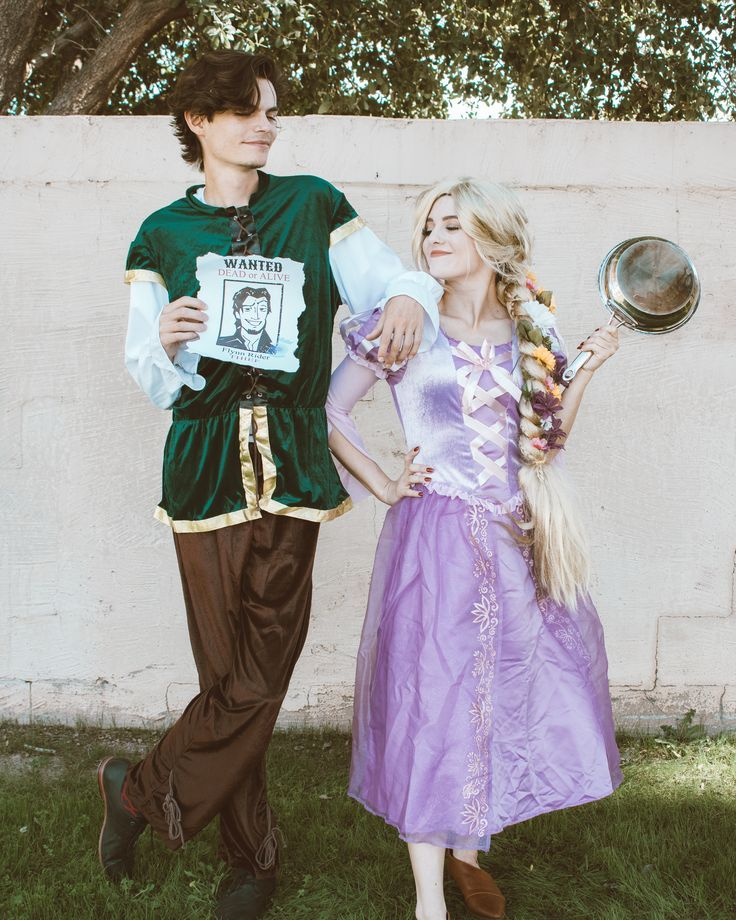 Diy Easy Halloween Costume Tangled Princess Rapunzel Costume Cosplay With Flynn Rider Disney Costumes For Women Cute Couples Costumes Cute Halloween Costumes