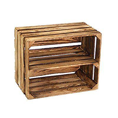 Regal aus geflammter Obstkiste als Schuh- oder Bücherregal von Kistenbaron®