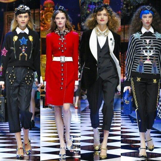 Dolce&Gabbana Fall-Winter 2016-17 #DGFabulousFantasy Women's Fashion Show. Off the Catwalk Colorful Patterns, White Shirts, Belts around the waist, length Trousers above the ankle and Sailor Stripes. More insights on @dolcegabbana and #dgfw17. Also follow @voguerunway and #MFW.
