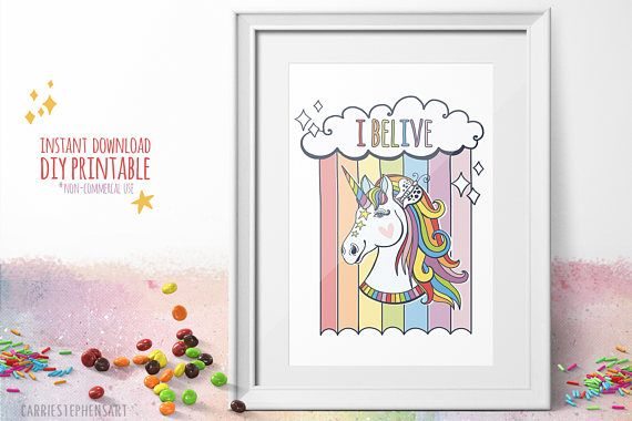 Rainbows and unicorns!   I Believe in Unicorns Art Print. Instant DOWNLOAD Printable Wall Art. Great party favor for a unicorn themed birthday party! #unicornbirthday #unicorns #ibelieve #printableart #etsyseller #wallart #printable