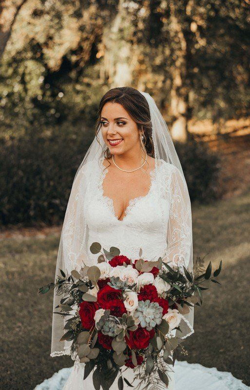 Winter #wedding bouquet idea - burgundy and blush bouquet with greenery and succulents {Dewitt for Love Photography}