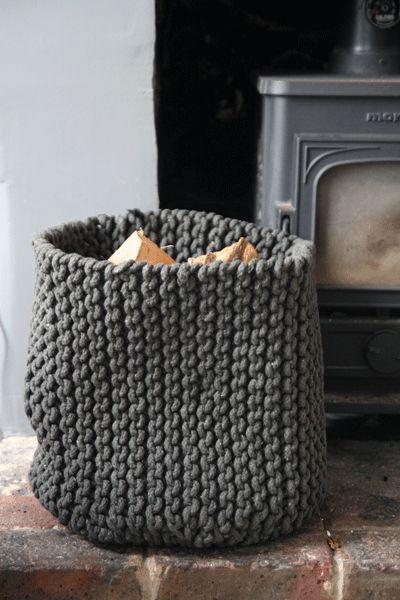 Really nice idea - Grey knitted basket log basket.