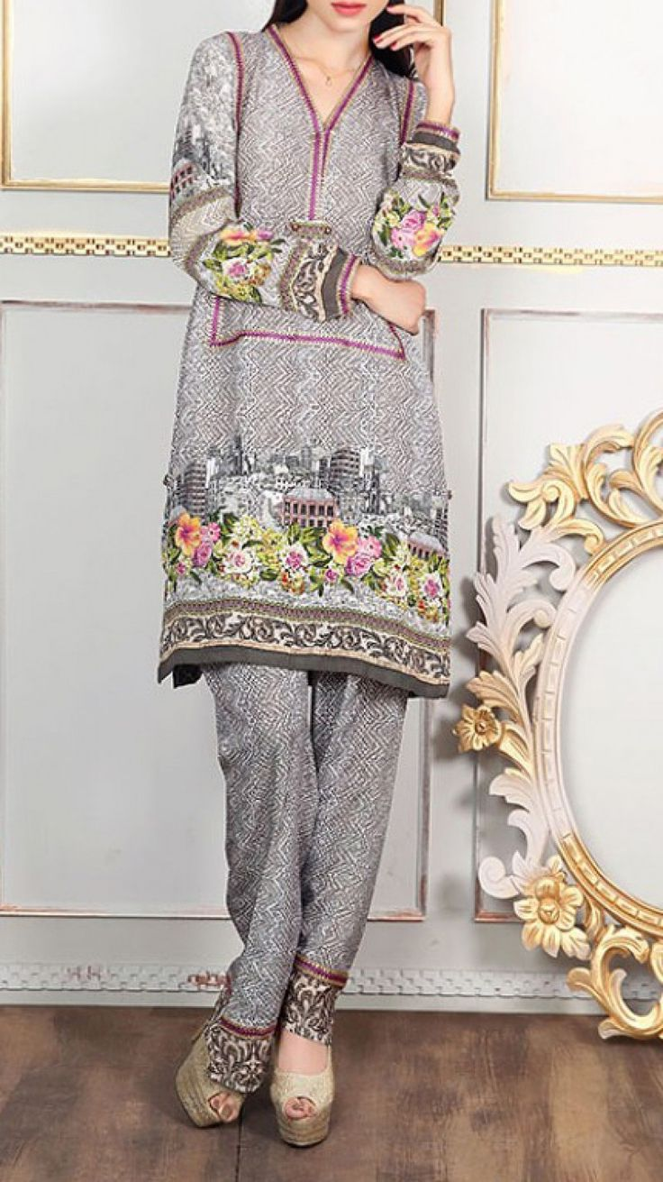 Gray Embroidered Grip Dress (2pc) Contact: (702) 751-3523  Email: info@pakrobe.com  Skype: PakRobe