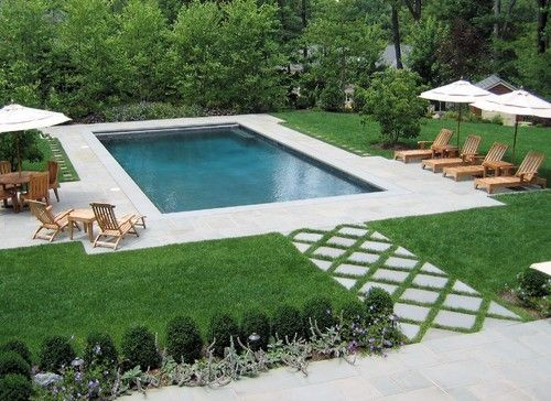 classic design rectangular pool in grass outdoor spaces gardens pinterest swimming walkways and classic - Swimming Pool Landscape Designs