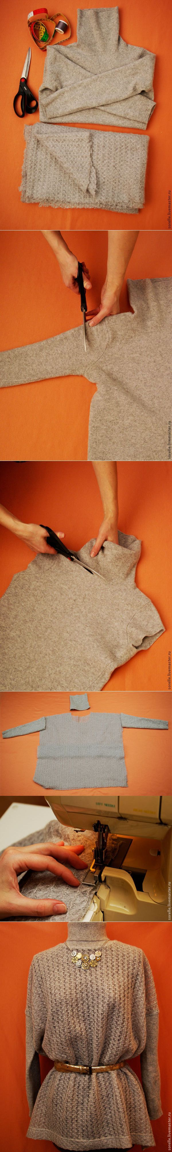 Remaking sweater into a stylish little thing |  Do it yourself!