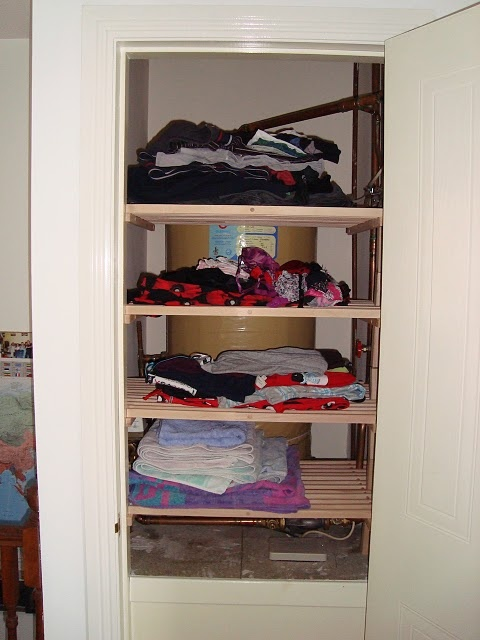 Using Ikea shoe racks to create airing space in the boiler cupboard