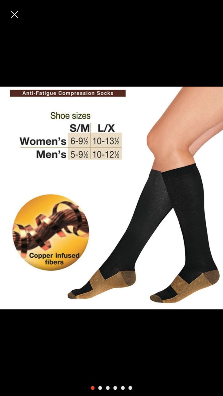 Unisex Anti-Fatigue Compression Socks Foot Pain Relief Soft Copper Anti Support Knee High Stockings