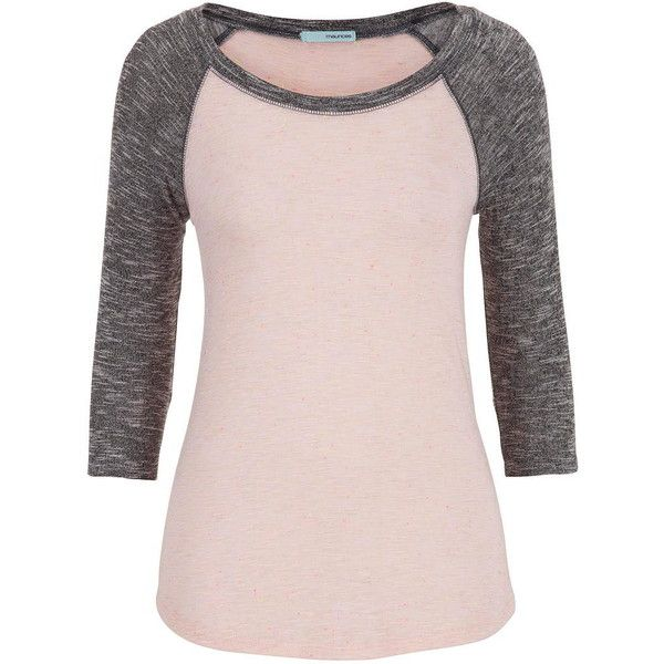 maurices Neon Flecked Baseball Tee (15 NZD) ❤ liked on Polyvore featuring tops, t-shirts, shirts, first blush combo, elbow length t shirts, neon pink t shirt, neon t shirts, layering t shirts and pink t shirt
