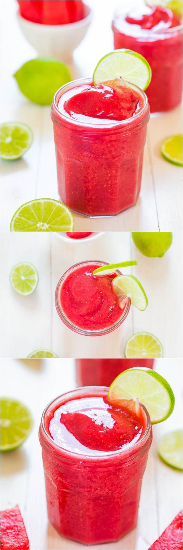 Watermelon Raspberry Slushies - Summertime in a glass! Cool, refreshing, and you'll want a refill before you know it! @averie