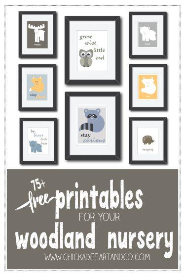 Over 75 adorable free printable woodland nursery wall art :)