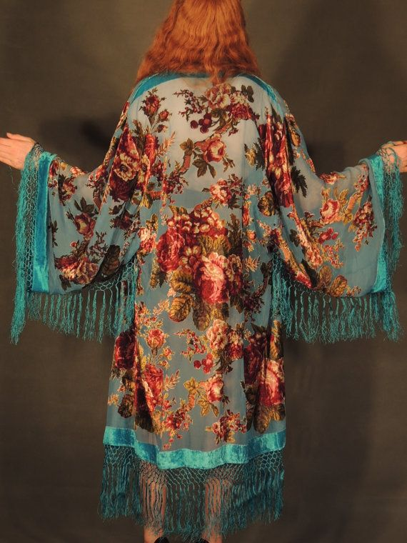 Sweetheart SILK long KIMONO Turquoise  burnout velvet by Andeebird, $118.00 - Love Love Love this!