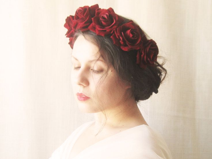 flower crown red rose headband floral crown rose by NoonOnTheMoon