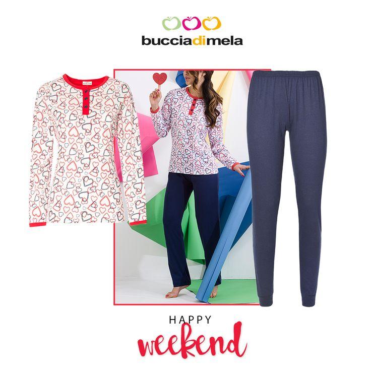 Dopo una lunga settimana, goditi il tuo #weekend indossando un comodo e trendy #pigiama #BucciadiMela! www.bucciadimela.it