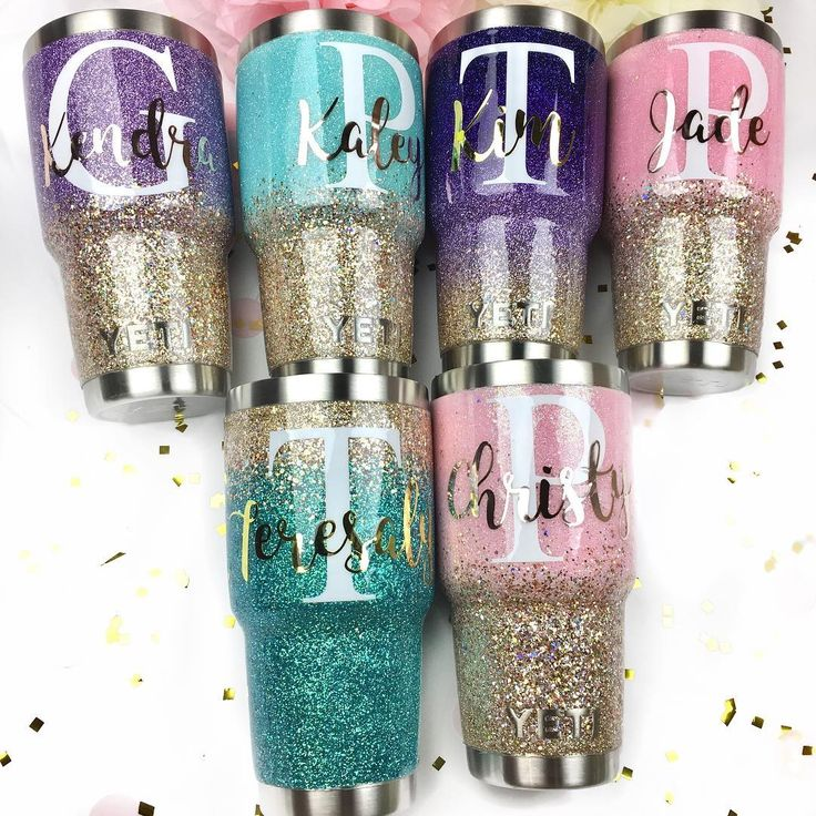 Ombre Glitter YETI - Here's a look at The Sparkle Stand's most popular decal style right now  Metallic Full Name Script on Top of a White Initial