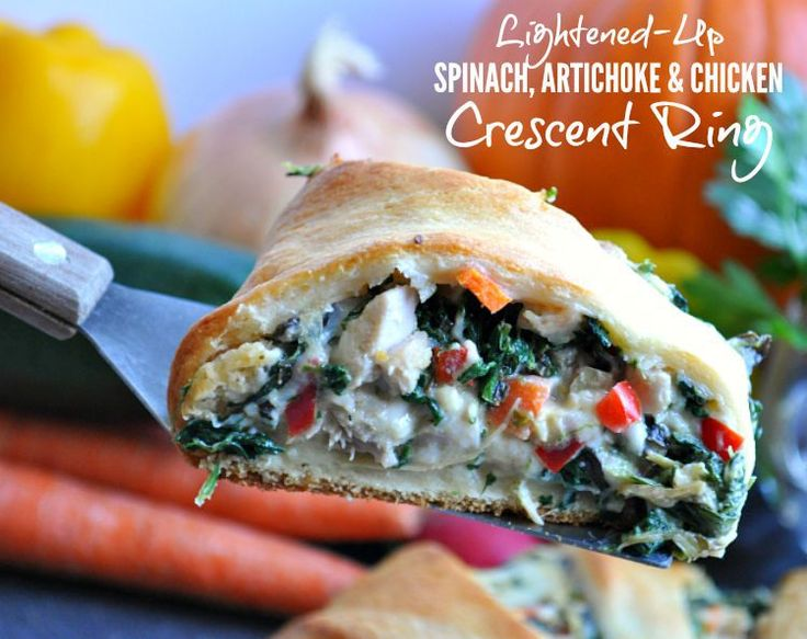 Lightened Up Spinach Artichoke and Chicken Crescent Ring