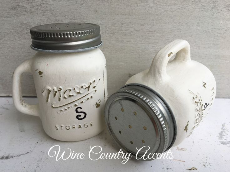 Salt and Pepper Shakers. Rustic Home Decor. Painted Mason Jars.