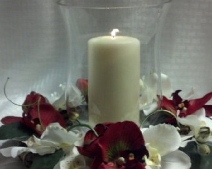 Red and cream orchid candle ring/orchid candle ring/red and cream orchids/candle rings/red and cream flowers/ candle rings/ tropical candle
