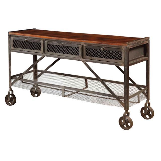 Sofa Table On Wheels Sofa Table With Wheels Rustic Console