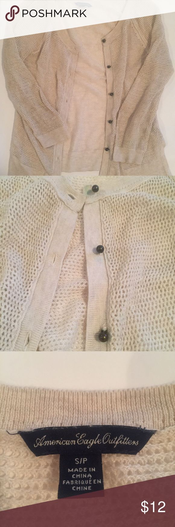 American Eagle cardigan This is light beige cardigan from American Eagle. It is a size small and perfect for warm weather! American Eagle Outfitters Sweaters Cardigans #americaneagleoutfitters