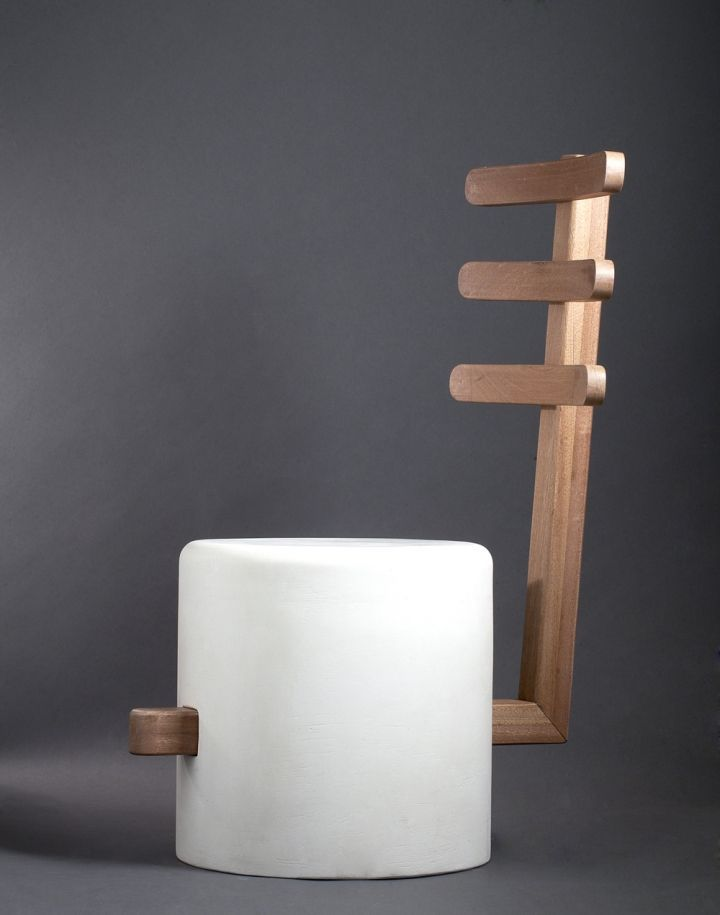 Easy stool-chair, designed by George Bonaguro - wood and composite material (resin and powder  white marble)
