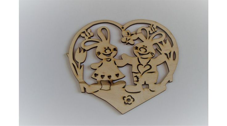 Nyúszifiú és nyuszilány szívben húsvéti ablakdísz - KreatívHobbyDekor webáruház